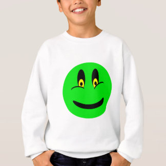 緑のスマイリーフェイス スウェットシャツ