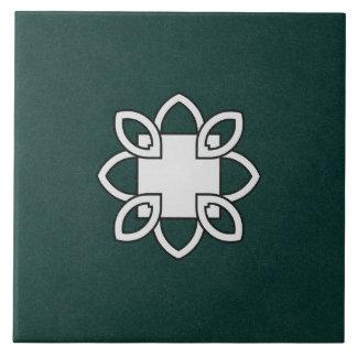 緑のセラミックタイルの白黒パターン タイル