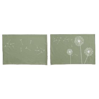 緑のタンポポの枕箱 枕カバー