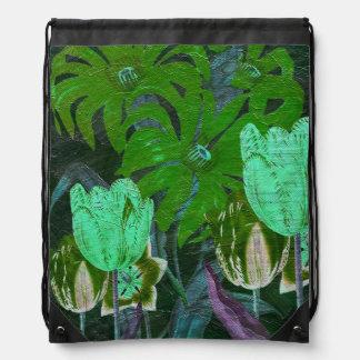 緑のターコイズのヴィンテージの植物のチューリップ ナップサック