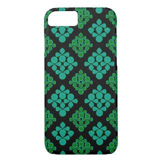 緑のターコイズはRhombパターンを去ります iPhone 8/7ケース