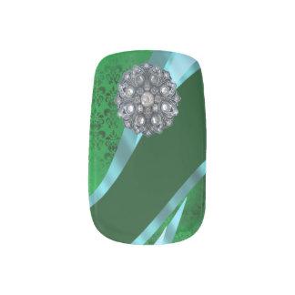 緑のダマスク織のラインストーンパターン ネイルアート