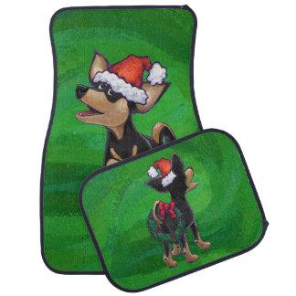 緑のチワワのクリスマス カーマット