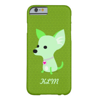 緑のチワワのモノグラム BARELY THERE iPhone 6 ケース