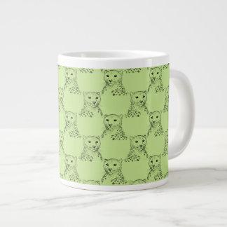緑のチータパターン ジャンボコーヒーマグカップ