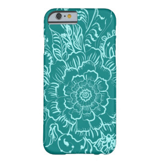 緑のティール(緑がかった色)の曼荼羅のHennaのスタイルの電話箱 Barely There iPhone 6 ケース