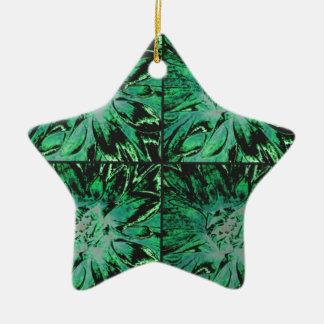 緑のティール(緑がかった色)の花のダリアの花模様 陶器製星型オーナメント