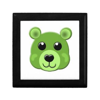 緑のテディー・ベアの顔 ギフトボックス
