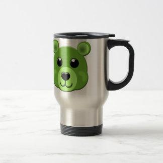 緑のテディー・ベアの顔 トラベルマグ