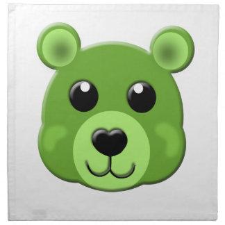 緑のテディー・ベアの顔 ナプキンクロス