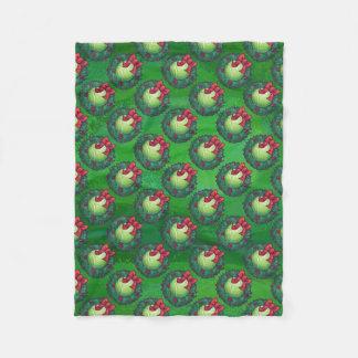緑のテニス・ボールのクリスマスのリースパターン フリースブランケット