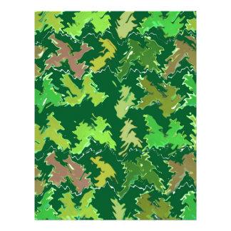 緑のテーマ: 軍のカムフラージュの波パターン レターヘッド