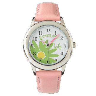 緑のデイジーのフラワー・ガール 腕時計