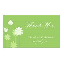 緑のデイジーの結婚式のサンキューカード 名刺テンプレート