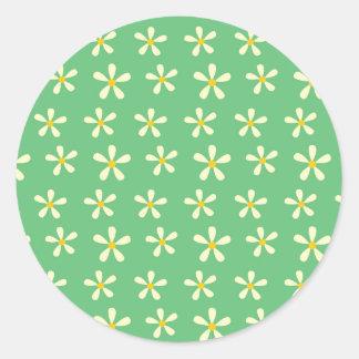 緑のデイジーパターン黄色及び白いデイジー ラウンドシール