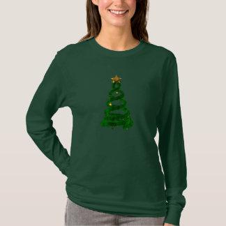 緑のデザインのマツおよび金球 Tシャツ
