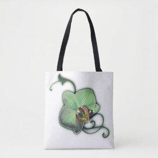 緑のデザインの蘭のトートバック トートバッグ