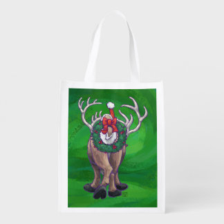 緑のトナカイのクリスマス エコバッグ