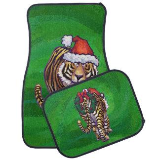 緑のトラのクリスマス カーマット