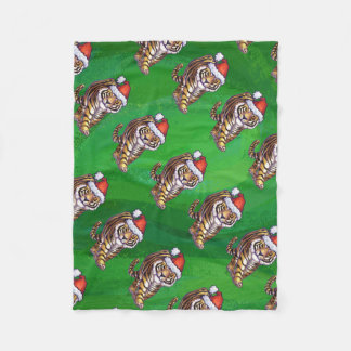 緑のトラのクリスマス フリースブランケット