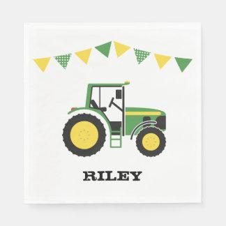 緑のトラクターの誕生会の紙ナプキン スタンダードランチョンナプキン