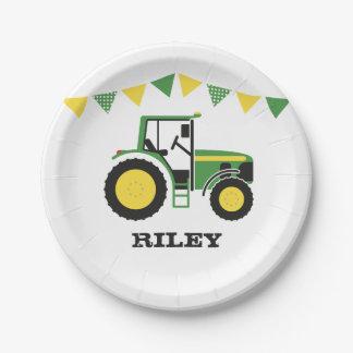 緑のトラクターの誕生会の紙皿 ペーパープレート