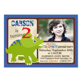 緑のトリケラトプスの恐竜の第2誕生日 カード