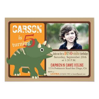 緑のトリケラトプスの恐竜の第5誕生日 カード