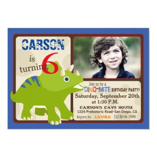 緑のトリケラトプスの恐竜の第6誕生日 カード