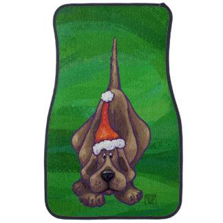 緑のハウンドドッグのクリスマス カーマット