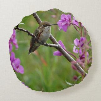 緑のハチドリの紫色のピンクの花の背景 ラウンドクッション