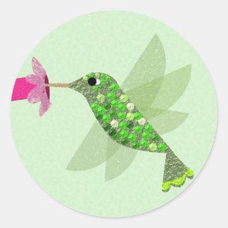 緑のハチドリ ラウンドシール