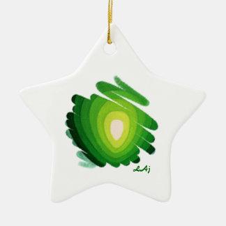 緑のハートのチャクラのらせん状の星のオーナメント セラミックオーナメント