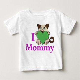 緑のハートのバレンタインデーのシャム猫 ベビーTシャツ