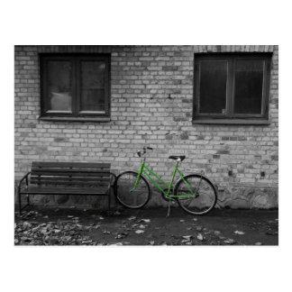 緑のバイクの郵便はがき ポストカード