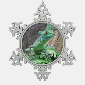 緑のバジリスク スノーフレークピューターオーナメント