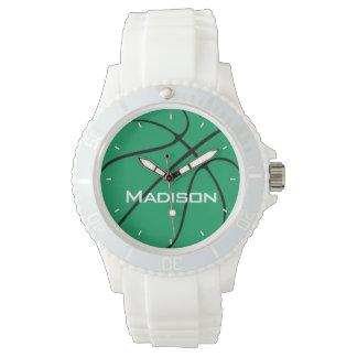 緑のバスケットボールの女性のプレーヤーまたはチーム一流の白 腕時計