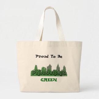緑のバッグがあること誇りを持った ラージトートバッグ