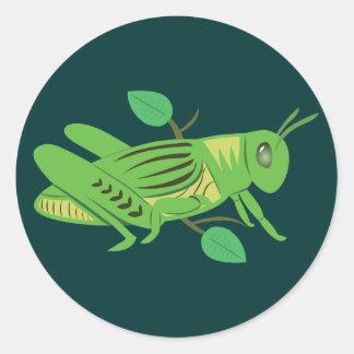 緑のバッタ ラウンドシール