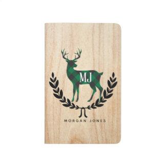 緑のバッファローの格子縞の雄鹿のモノグラム ポケットジャーナル