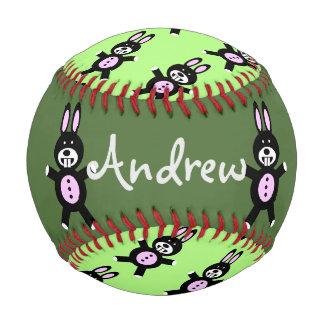 緑のバニーの名前入りな野球 ベースボール