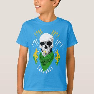 緑のバンダナを身に着けている子供のギャングのスカル Tシャツ
