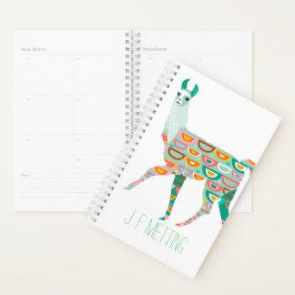 緑のパターン(の模様が)あるなラマの名前入りなプランナー プランナー手帳