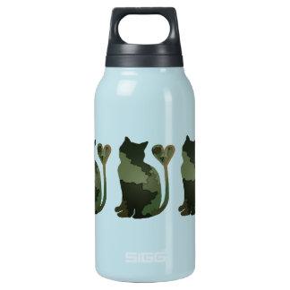 緑のパッチワークの迷彩柄の子猫猫 断熱ウォーターボトル