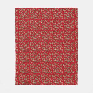 緑のヒイラギは黄色い花の赤毛布を去ります フリースブランケット
