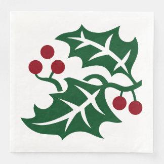 緑のヒイラギ及び赤い果実のクリスマスの休日の記号