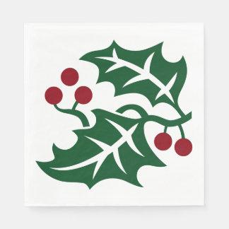 緑のヒイラギ及び赤い果実のクリスマスの休日の記号 スタンダードランチョンナプキン