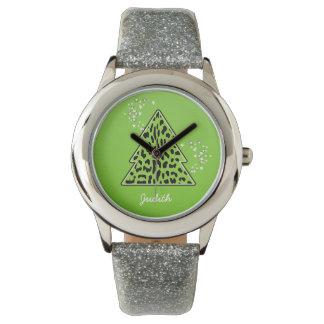 緑のヒョウのチータのクリスマスツリー 腕時計