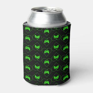 緑のビデオゲームのコントローラーのハートパターン 缶クーラー