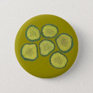 緑のピクルスはユダヤの甘いディル・ピクルスの破片を欠きます 5.7CM 丸型バッジ